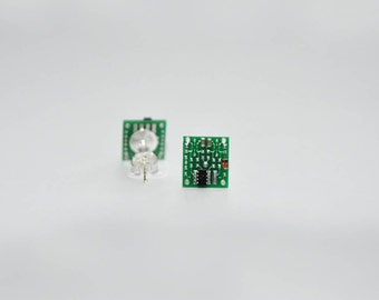 Circuit Board Stud Earrings | Geeky Jewellery | Circuit Board with chips and resistor