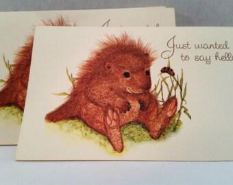 Adorable Hello Hedgehog Greeting Postcards