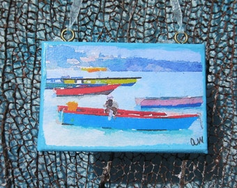 Grenada Fishing Boats – Mini Canvas – Grand Anse Beach, Grenada - Gift – Ornament