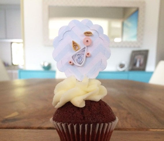 6 Cupcake Toppers Baptism, First Communion Cupcake Toppers ...
