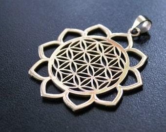 LOTUS Flower of Life Brass Pendant - Tribal Necklace, Mandala Necklace, Hippie Psy Boho Gypsy, Boho Necklace, Sacred Geometry Necklace