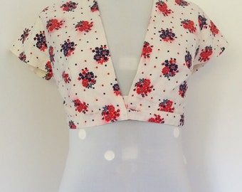 "35"" Bust Vintage 70's Red Floral Cotton Wrap Top"