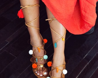 pompom sandals, boho sandals, pom pom sandals, leather sandals, lace up sandals, tie up sandals, gladiator sandals, summer sandals - Kerala