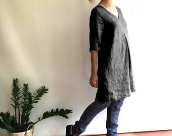Grey Linen Tunic, Plus size Linen tunic, Loose Linen Dress for Women, Linen Tunic Dress, Womens tunic, plus size clothing, tunic dress