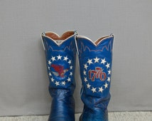 Justin 1776 Bicentennial Cowboy Boots, Men's 9.5D, American Bald Eagle Stitching & Inlayed Stars