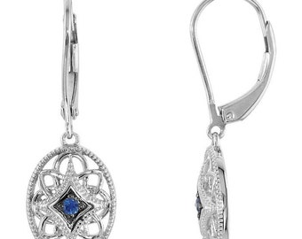 Vintage Inspired 100% .925 Sterling Silver Genuine Blue Sapphire Solitaire Leverback Earrings - September Birthstone