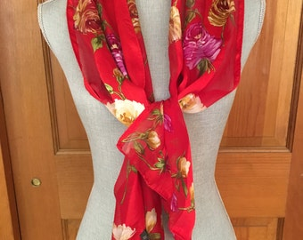 Vintage Red Floral Silk Scarf by Echo, Vintage Red Silk Floral Scarf, Head Scarf, Jacket Scarf, Vintage Silk Sweater Scarf