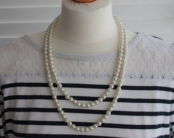 Extra Long Faux Pearl Necklace - Vintage Glass Pearl Necklace - Double Strand Faux Pearl Beads - Vintage Wedding Necklace