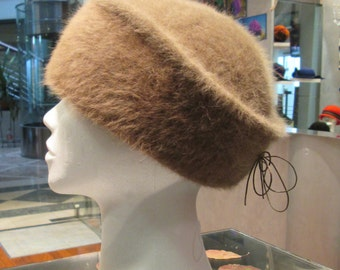 Winter hat/ Angora hat/ Women's warm hat/ Light Brown hat