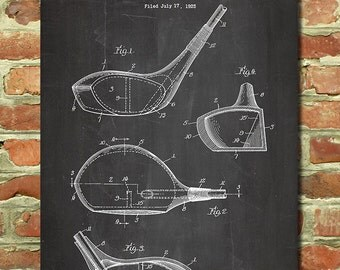 Golf Decorations, Sports Art Golf Wall Art Golf Dad Gift Men Golf Gift, Golf  Print Fathers Day Dads Birthday Antique Golf Club Patent P004
