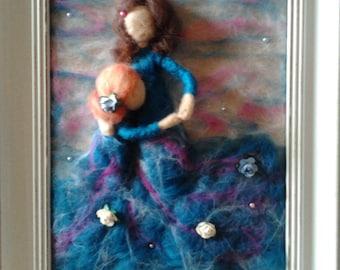 Mother & Daughter 3D needle felt frame