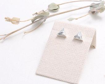 White Howlite Pyramid Stud Earrings, Triangle White Marble Stud Earrings