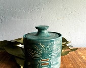 Pottery Jar Turquoise Blue Bumblebee with gold luster and honeycombs No. 5