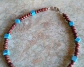 Boho turquoise bracelet,beaded bracelet,summer bracelet,ethnic bracelet,christmas in July sales