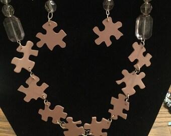 Ashy Burgundy Puzzle Piece Jewelry Set
