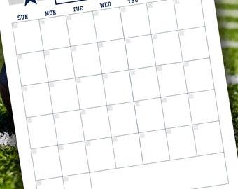 Cowboys Monthly Calendar