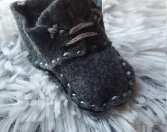 Handmade felt baby booties