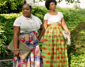 African Wax Print High Waisted Box Pleat Maxi Skirt
