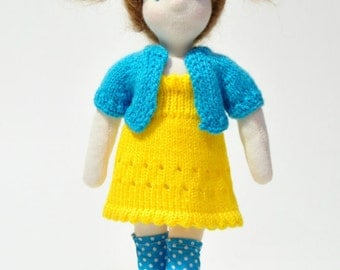 Waldorf-inspired doll, 28 cm high, including full outfits