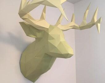 Pre-cut and Pre-scored Deer Head Kit - Low Poly Animal Head