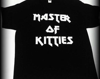Cat Shirt, Master of Kitties t-shirt, Metallica shirt, Metallica, I love cats shirt, heavy metal clothing,  heavy metal shirt, S, M, L, XL