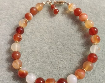 Carnelian and Agate bracelet with gold filled findings.