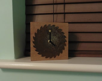 Hand Crafted Rustic Solid Pine Saw Blade Clock - Bedside - Desk - Wooden