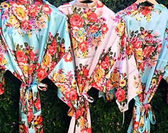 Floral Bridesmaid robes, bridal floral satin robes, wedding robes, get ready robe, bridal bridesmaid gifts, Satin Silk robes