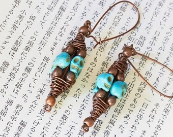 Turquoise Skulls Wire Wrapped Copper Earrings, Halloween Accessory, Day of the Dead, Pirate Earrings, Goth Earrings