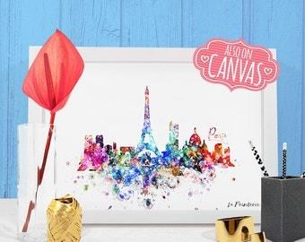 Paris Skyline Canvas Print, Paris France Map Underground, Paris Art Print, Paris Wall Art, Paris Poster Canvas, Paris Print Watercolor Decal