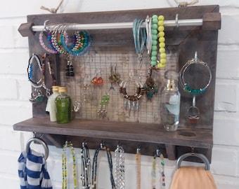 Jewelry organizer. Jewelry Display. Wall Hanging Jewelry Display. Jewelry storage. Jewelry holder. Holder Necklace Earring Bracelet.