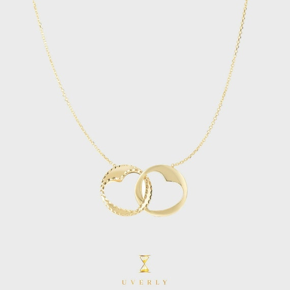 """14k Yellow Gold Interlocking Hearts Engraved """"I love you"""" Charm Pendant Chain Necklace"""
