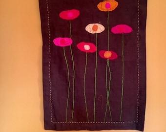silk flowers wall hanging handmade