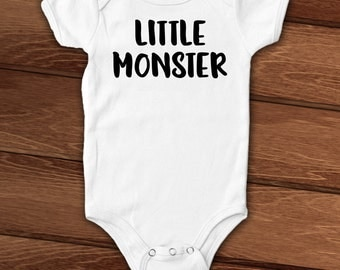 Little Monster funny custom baby bodysuit, layette, newborn, infant, toddler, halloween, baby shower gift