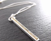 Necklace - Narrow Bar Pendant in Sterling Silver and Floral Brass - Handmade in Seattle