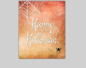 "Happy Halloween Printable Halloween Decor Instant Download Door Decoration Spider Art Spider Web Download Digitial File 8"" X 10"" DIY Print"