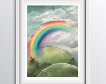 Children's Rainbow Color Wall Art - Educational nursery art colour chart