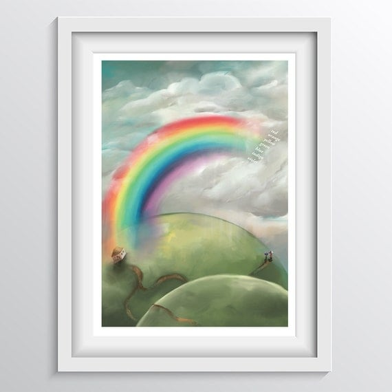 Children's Rainbow Color Wall Art - Educational nursery art colour chart