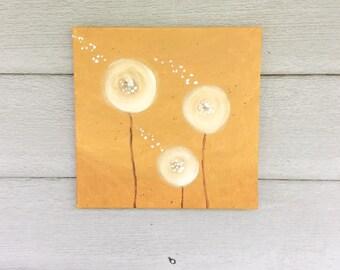 Dandelion Painting-Dandelion Art-Nursery Wall Art-Nursery Decor -Whimsical Painting-Nursery Art-Yellow -12x12