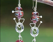 HOLD FOR DENISE Sterling Silver Earrings - Drop Earrings - Designer Dangle Earrings - Beaded- Handmade- Wire Wrapped - Lampwork Glass Beads