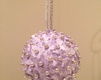 Purple Lace Print Paper Flower Ornament: Handmade and Unique!