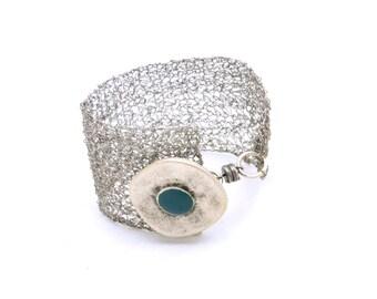 Bracelet Cuff, Wire Crochet Jewelry, Cuff Bracelet, Wide Cuff, Silver Tone Bracelet, Silver Jewelry, Southwestern Style, Turquoise Jewelry