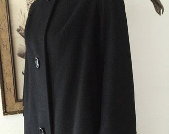 Mid Century Black Wool Swing Coat with Mink Fur Collar