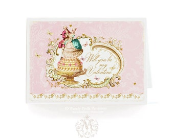 Valentine card, romantic couple, Will you be my Valentine, love card, dancing couple, pink, , butterflies, Marie Antoinette, romantic card