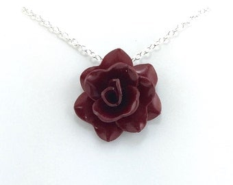Dark Gold/Crimson Rose Pendant - Simple Rose Necklace - Dark Red Rose Necklace  - Bridesmaid, Wedding Jewelry - Polymer Clay - MADE to ORDER
