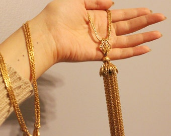 THE MEGA Tassel necklace - Vintage gold chain