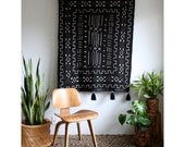 African Wall Hanging, Black African Mudcloth, Mud Cloth Large Wallhanging, Pom Pom Throw Blanket, Tassel Tapestry, Bohemian Home Decor