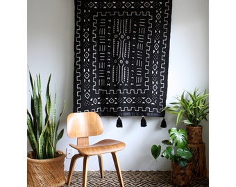 African Wall Hanging, Black Mudcloth, Mud Cloth Wall Hanging, African Mudcloth, Pom Pom Throw Blanket, Tassel Tapestry, Bohemian Home Decor