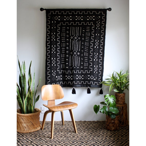African Wall Hanging Black African Mudcloth Mud Cloth Large