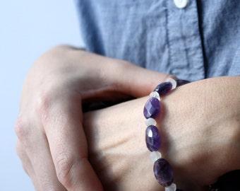 Purple Amethyst Bracelet . February Birthstone Bracelet . Positive Energy Bracelet . Rock Crystal Jewelry - English Garden